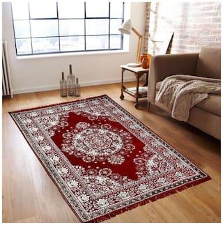 Peponi  Red Ethnic Design Carpets For Living Room/Bedroom/Drawing Room((4.5*7.25 ft)
