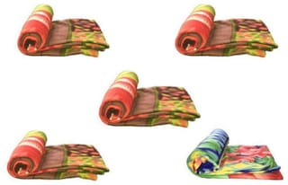 Peponi Single Bed Fleece Blanket (Pack Of 5)