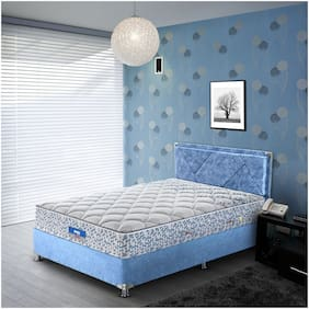 Peps Restonic Carousel Normal Top 06 inch Double Size Pocketed Spring Mattress (Light Blue 72X48X06 )
