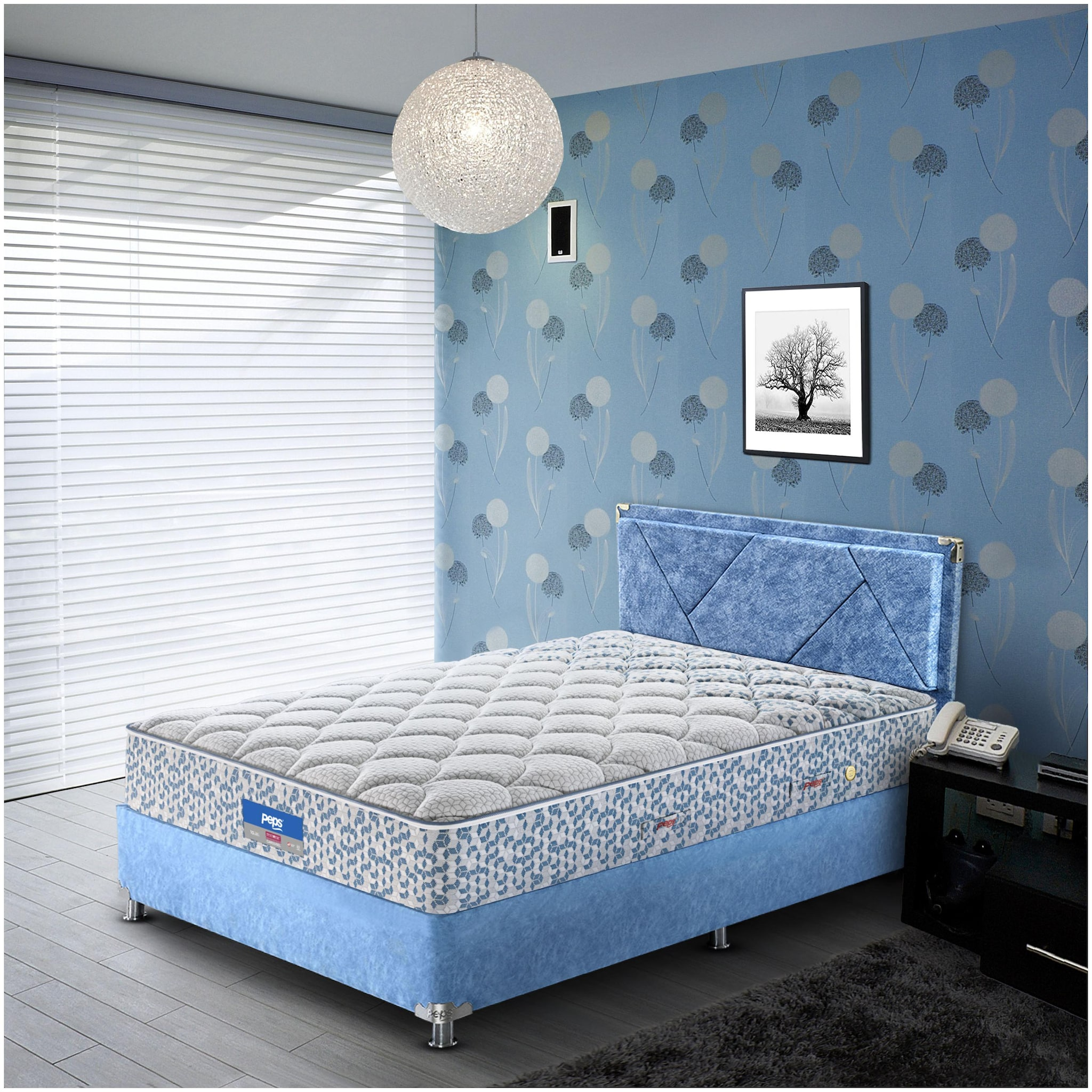 Peps Restonic Carousel Normal Top 06 inch Queen Size Pocketed Spring Mattress  Light Blue 72X60X06   by Peps Industries