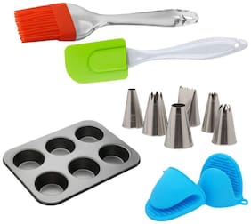Perfect Pricee Kitchen Baking Tool Combo Silicone Spatula & Pastry Brush Set, Muffin Mould Tray, 12 Pc Cake Decorating Steel nozzles Tips and 2 Pcs Oven Mitt Gripper Pot Holder