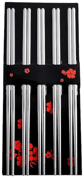 Perfect Pricees 5 Pairs Stainless Steel Round Chopsticks Chinese Stylish Healthy chopstick( design may vary)