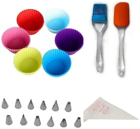 Perfect Pricee Combo of Silicon Spatula & Brush with 6 Pieces Muffin Mould, 12-Piece Icing Nozzle Tips and Reusable Icing Piping Bag (Multicolour)