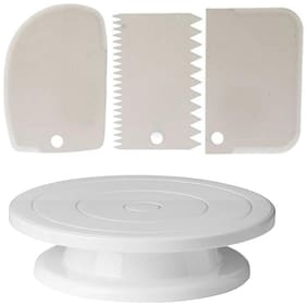 Perfect Pricee Combo Set of Plastic Revolving Turn Table Cake Stand with 3 Scrapper, White
