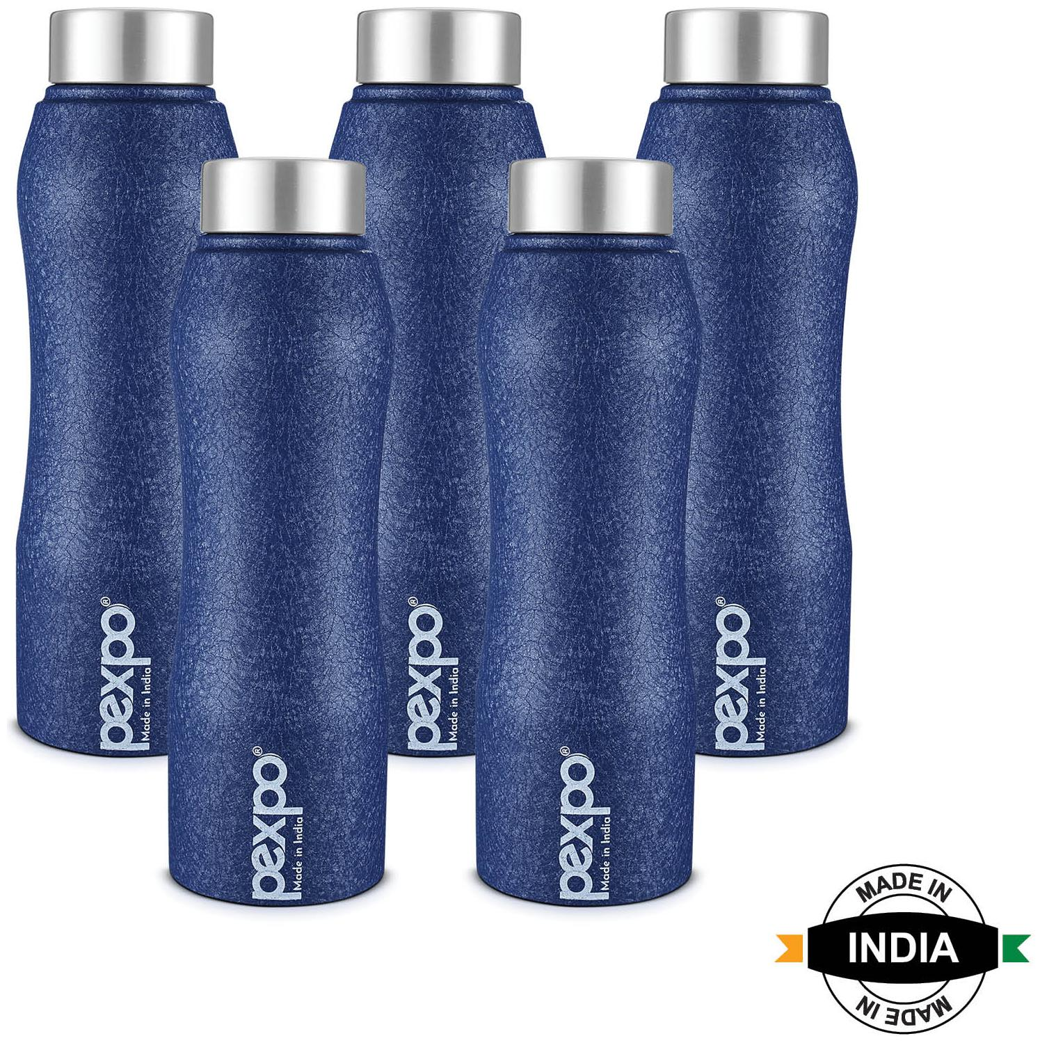Pexpo Stainless Steel Water Bottle Set of 5   Blue , 1000 ml   by Placerointernational