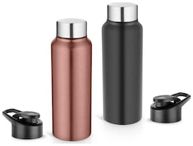 Pexpo 750 ml Stainless Steel Assorted Water Bottles - Set of 2