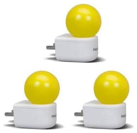 Philips 0.5W Plug&Play LED Bulb(Yellow,Pack of 3)