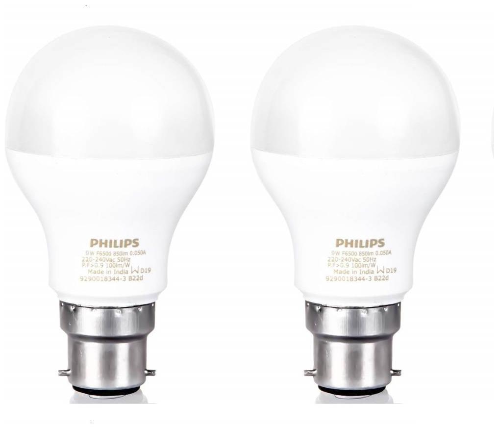 Philips 9 W Standard B22 LED Bulb (White;Pack of 2)