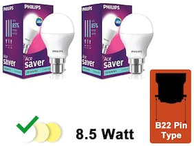 Philips Ace Saver 8.5W LED Bulb 6500K (Cool Day Light) - Pack of 2