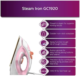 Philips EasySpeed GC1920/28 1440 W Steam Iron (White & Pink)