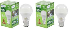 Philips Eye Pro 9W LED Bulb B22 6500K (Cool Day Light) with 2 AA Everready Batteries with each bulb - Pack of 2