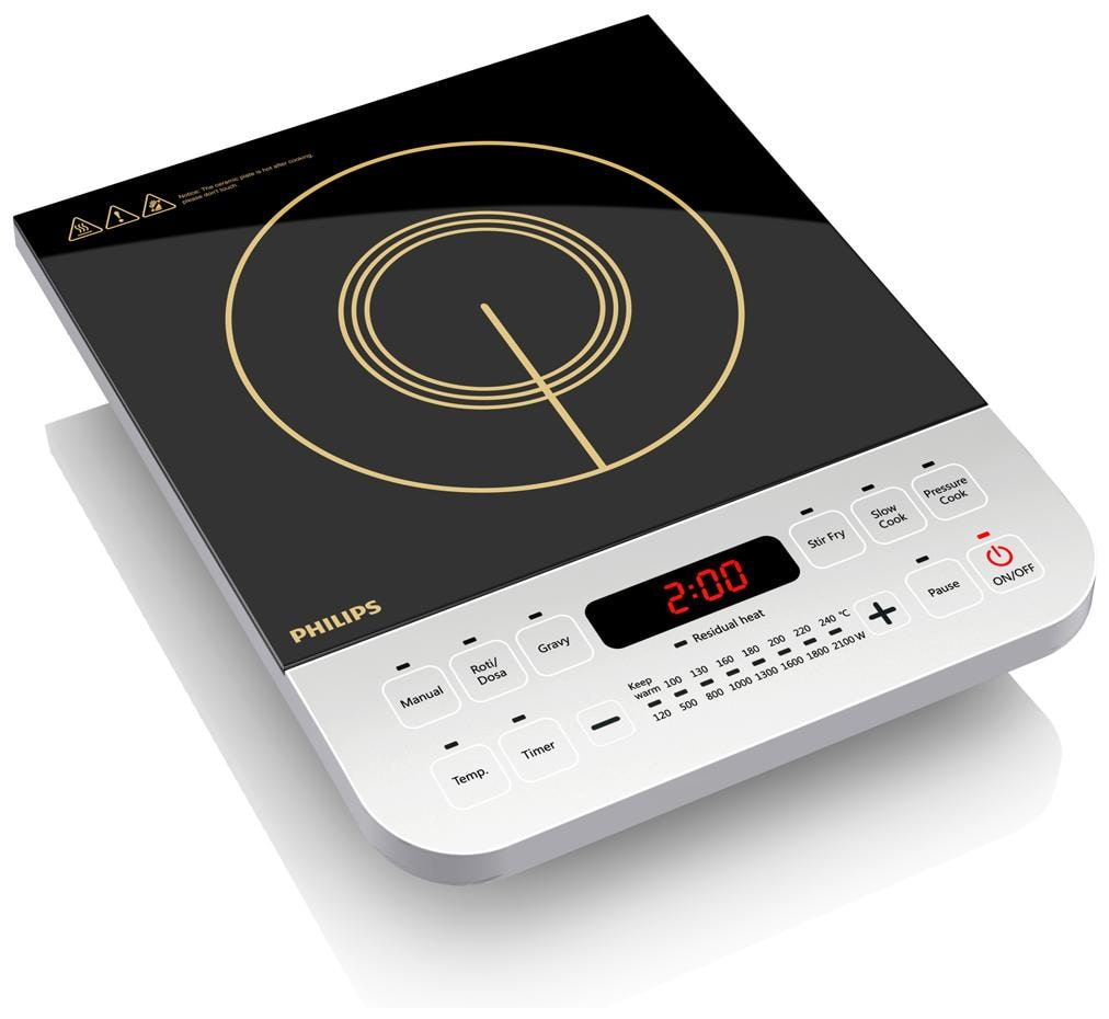 Philips HD4928 2100 W Induction Cooktop (Black & White)
