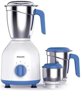Philips HL7555 600 W Mixer Grinder ( White & Blue , 3 Jars )