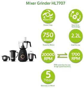 Philips HL7707 750 W Mixer Grinder ( Black , 4 Jars )