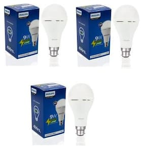 Philips Inverter Bulb 9 Watt Rechargeable Emergency LED Bulb for Home, Cool Daylight, Base B22 (Pack of 3)