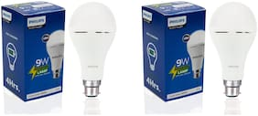 Philips Inverter Bulb 9 Watt Rechargeable Emergency LED Bulb for Home, Cool Daylight, Base B22 (Pack of 2)