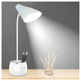Pick Ur Needs  Touch On/Off Switch LED Desk Lamp/Student Study Reading/Learning Dimmer/Brightener Rechargeable Led Table Lamps(White) (Touch +Pen + Mobile Stand)