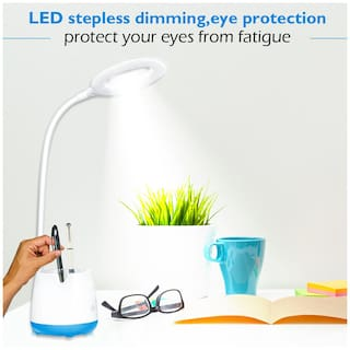 Pick Ur Needs Rechargeable LED Touch On/Off Switch Desk Lamp Children Eye Protection Student Study Reading Dimmer Rechargeable Led Table Lamps USB Charging Touch(White)