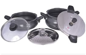 Pigeon Aluminium 8 L Induction Friendly Multi cooker - Set of 5