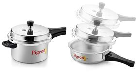Pigeon Aluminium Pressure Cooker 5 Litre And Pressure Pan Without Lid 3.5 Litre (Calida Combo)