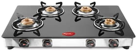 Pigeon BLACKLINE SQUARE 4 Burners Stainless Steel Gas Stove - Black