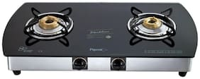 Pigeon Blackline Oval 2 Burner Automatic Regular Black Gas Stove