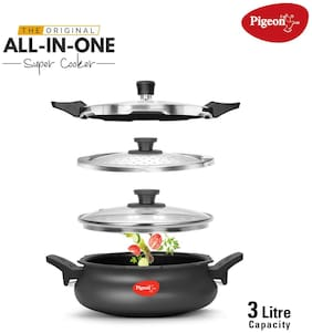 Pigeon Hard-Anodized Aluminium 3 L Induction Bottom Outer Lid Pressure Cooker - Set of 4 ,