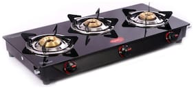 Pigeon ASTER 3 Burners Stainless Steel With Glass Top Gas Stove - Black