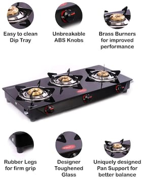 Pigeon aster 3 Burner Regular Black Gas Stove ,