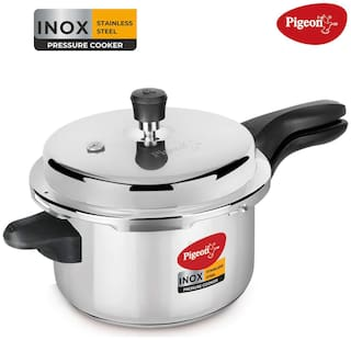 Pigeon Stainless Steel 5 L Induction Bottom Outer Lid Pressure Cooker - Set of 1 ,