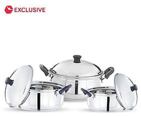 Pigeon kitchen star handi set of 3 pcs stainless steel Handi 0.75 L;1 L;1.25 L with Lid (Stainless Steel;Induction Bottom)