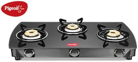 Pigeon OVAL 3 Burners Stainless Steel Gas Stove - Black