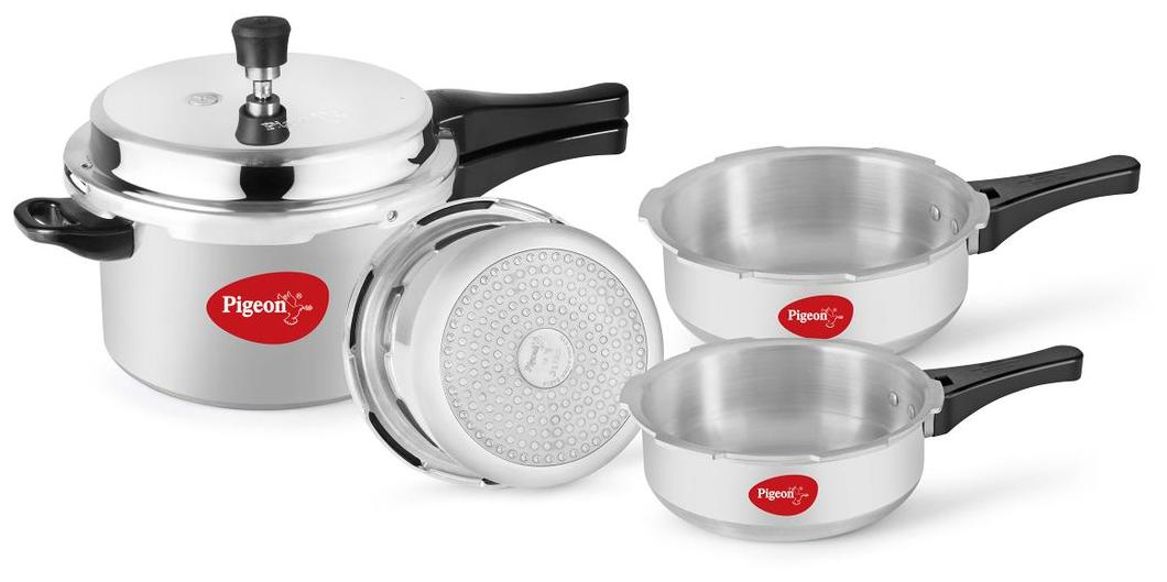 f5fb637a0 Buy Pigeon PRESSURE COOKER COMBO 5 L 3.5 L 3 L 2 L Pressure Cooker    Pressure Pan with Induction Bottom (Aluminium) Online at Low Prices in  India ...