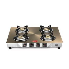 Pigeon smart plus metallic 4 Burner Regular Golden Gas Stove