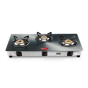 Pigeon Smart Plus Metallic Silver 3 Burner Gas Stove Manual Ignition
