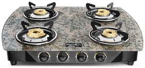 Pigeon SPARK SERIES 4 Burners Stainless Steel With Glass Top Gas Stove - Green