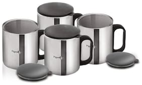 Pigeon-Stainless Steel Coffee Cup Set of 4 (with Lid)