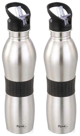 Pigeon Stainless Steel Assorted Water Bottle ( 700 ml , Set of 2 )