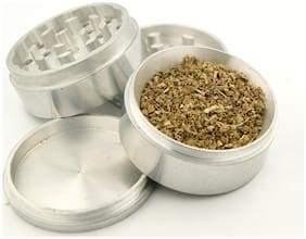 Pigeons 50 mm Metal Herb Grinder with Honey Dust Filter -Weed Grinder/Weed Crusher (5.0cm x 5.0 cm x 5.0cm, Silver)