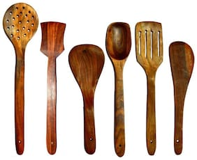 Pin to Pen Wooden Wooden Spoon, Cooking Spoon Set (Pack of 6)
