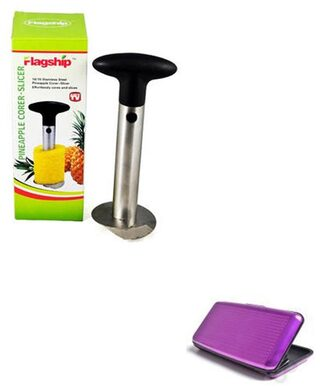Pineapple Cutter and Slicer - Stainless Steel With Purple Aluma Wallet