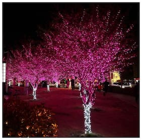 Pink 54LEDs 12m LED String Fairy Lights  Decorative Rope Firefly  Lights for Patio Pathway Bedroom Outdoor and Indoor