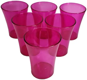 Pink Color Unbreakable Plastic Glass Set of 6 Pcs Polycarbonate Drinking Glass / Soft Drink Party Glass Set / Juice Party Glass Set - (250 ML)