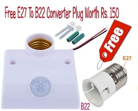 PIR Motion Sensor Detector LED Lamp Holder-With Free gift of E27 to B22 converter Worth Rs.150 WITH Each socket by A2Ztech