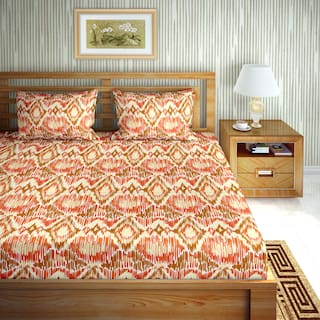Bella Casa Cotton Printed Double Size Bedsheet 110 TC ( 1 Bedsheet With 2 Pillow Covers , Brown )