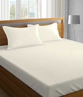 PIZUNA 400 Solid Fitted Queen Bedsheet ( Cream , Pack of 3 )
