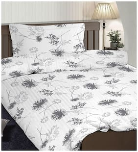 Pizuna Linen Valerie Grey 100% Cotton Popsical Single Size Dohar Set with 1 Pillow Cover (54 X 90 inches)