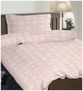 Pizuna Linen Gitta Pink 100% Cotton Popsical Single Size Dohar Set with 1 Pillow Cover (54 X 90 inches)