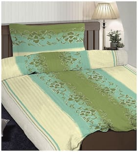 Pizuna Linen Ninette Green 100% Cotton Popsical Single Size Dohar Set with 1 Pillow Cover (54 X 90 inches)