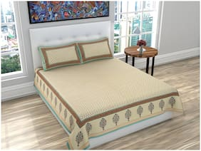 PK Fashions Cotton Floral Queen Size Bedsheet 116 TC ( 1 Bedsheet With 2 Pillow Covers , Mustard )